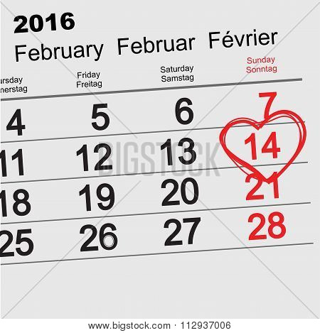 February 14, 2016 Valentines Day calendar
