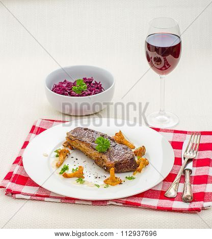 Rump Steak With Chanterelle And Cream Sauce