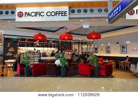 HONG KONG - DECEMBER 24, 2015: interior of Pacific Coffee cafe. Pacific Coffee Company is a Pacific Northwest U.S.- style coffee shop group originating from Hong Kong