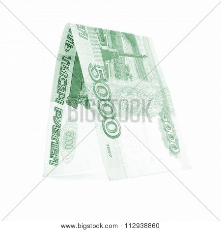 Russian ruble prosperity port, rouble cabin isolated on white background