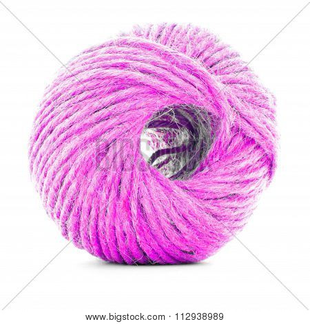 Pink traditional clew, sewing thread ball isolated on white background