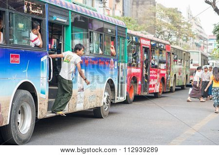 Busy bus traffic in Yangon
