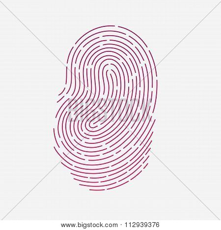 Red touch fingerprint id app with shadows vector illustration