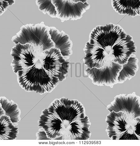 Seamless pattern with colorful pansy flowers.