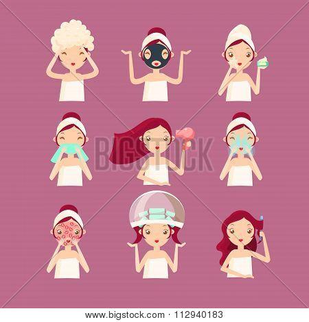 Women in Beaty Saloon. Vector Illustration