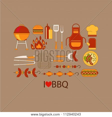 Barbecue grill party vector set