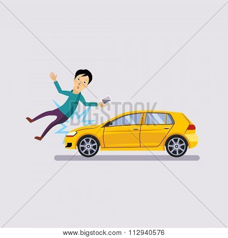 Traffic accident, the vehicle knocked man flat style vector