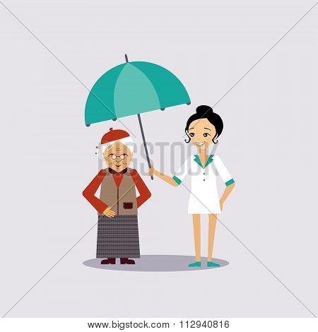 Senior Medical Insurance Vector Illustartion