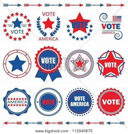 Red and blue Vote America emblems, tags and design elements set