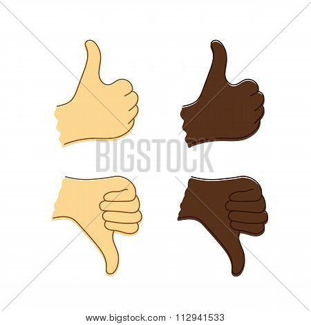 Isolated sketch of Caucasian and Afro-American hands with thumb up and thumb down.