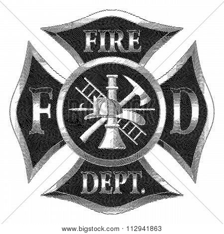 Fire Department Cross Silver Engraving