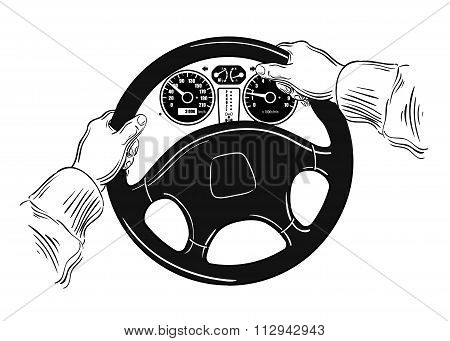 hands on the wheel. vector illustration