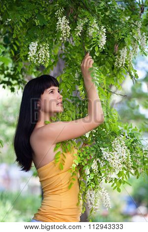 Girl near blossom acacia tree