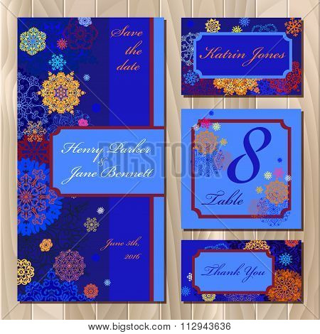 Winter snowflakes wedding card design. Printable Vector illustration