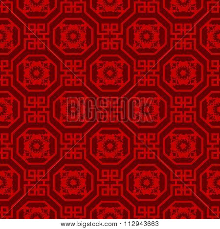 Seamless background image of Chinese window tracery octagon spiral square pattern.