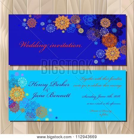 Winter snowflakes design. Wedding invitation card. Vector illustration