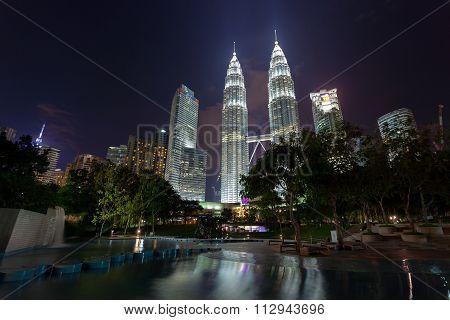 Kuala Lumpur skyline seen from the KLCC Park