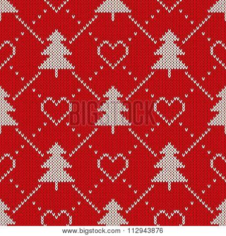 Winter Holiday Sweater Design. Seamless Knitting Patter