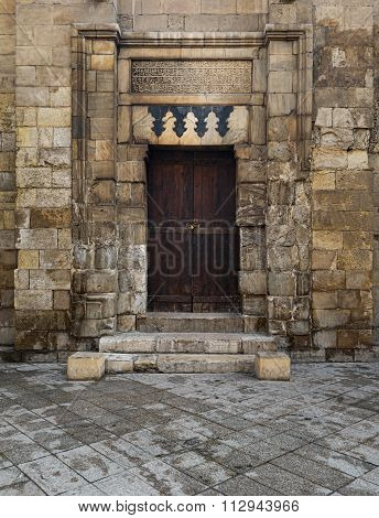 CAIRO, EGYPT - December 12 2015: Entrance of Madrasa of As-Saleh Nagm Ad-Din Ayyub in 1242-44