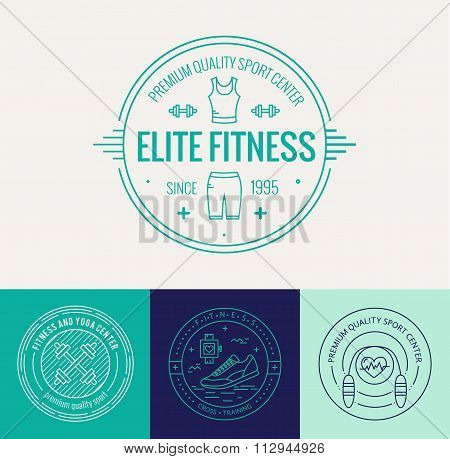Vector fitness badge and emblems set