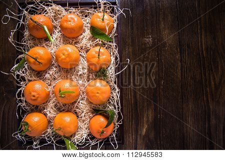Farm Fresh Tangerines In Wooden Crate