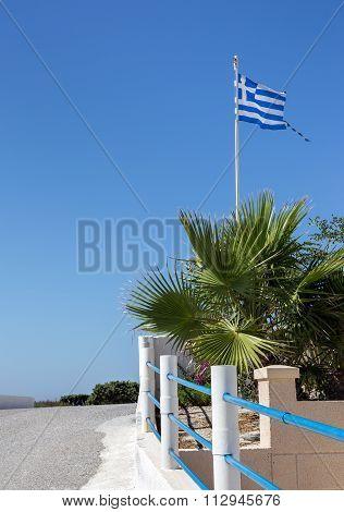 Greek Flag On Kos Island