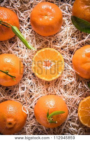 Tangerines In Wooden Rustic Crate From Above