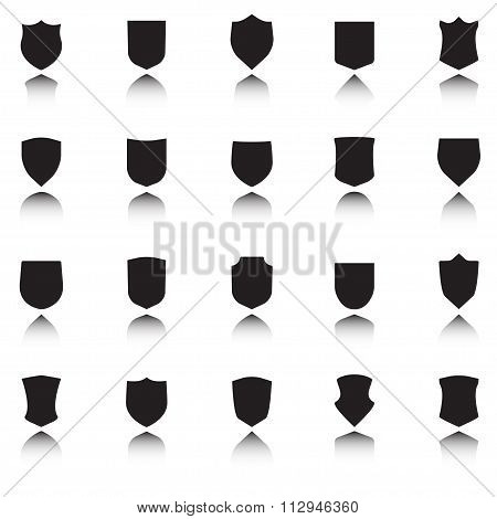 Shield icons set. Different black shield with shadow. Vector illustration.
