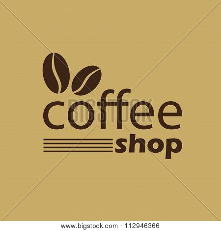 Coffee shop sign, emblem or label in brown with coffee beans. Vector illustration.