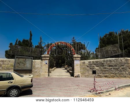 Bethlehem, Palestine, July 12, 2015 .: An Information Board At The Entrance To The Field Shepherds I