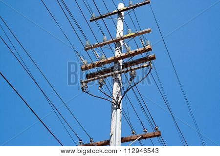 Electrical Pole With Blue Sky Background, Usa