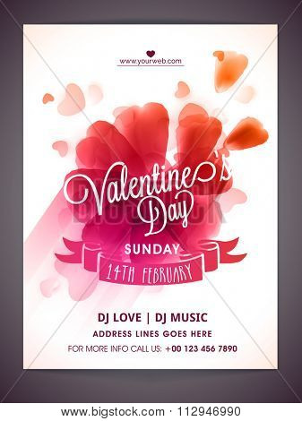 Creative glossy hearts decorated Flyer, Banner or Pamphlet design with pink ribbon for Valentine's Day Party celebration.