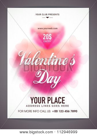 Glossy pink hearts decorated, beautiful Flyer, Banner or Pamphlet design for Valentine's Day Party celebration.