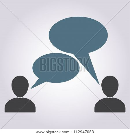 People talking symbols isolated on white background. Communication icon or sign with speech bubbles.