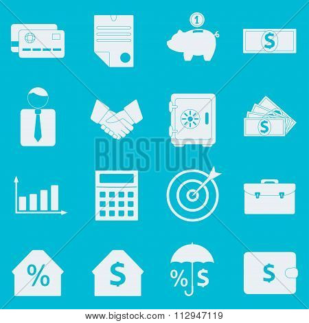 Bank and Finance icons set. Symbols for finance, money, banking services Vector illustration.