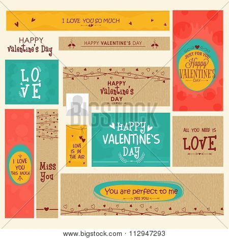 Creative social media post and header set for Happy Valentine's Day celebration.