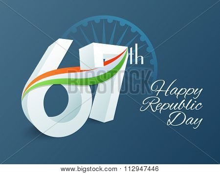 3D text 67th with National Flag colours waves on Ashoka Wheel decorated background for Happy Indian Republic Day celebration.