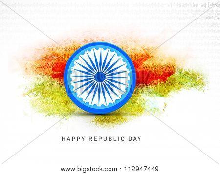Shiny Ashoka Wheel on floral decorated colour splash background for Happy Indian Republic Day celebration.