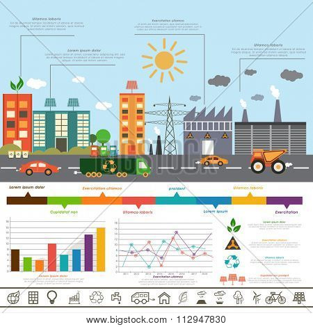 Creative Ecological Infographic layout with view of urban city and colorful statistical graphs.