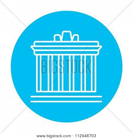 Acropolis of Athens line icon for web, mobile and infographics. Vector white icon on the light blue circle isolated on white background.