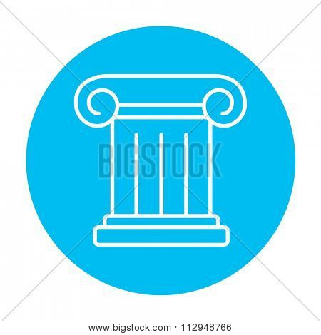 Ancient column line icon for web, mobile and infographics. Vector white icon on the light blue circle isolated on white background.