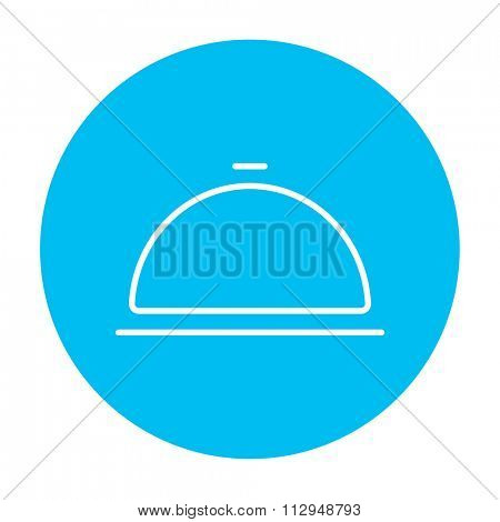 Restaurant cloche line icon for web, mobile and infographics. Vector white icon on the light blue circle isolated on white background.