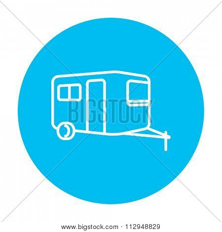 Caravan line icon for web, mobile and infographics. Vector white icon on the light blue circle isolated on white background.