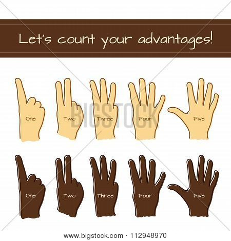 Set of isolated sketches of Caucasian and Afro-American hands with count from 1 to 5.