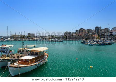 Greek fishing boats at Heraklion harbor