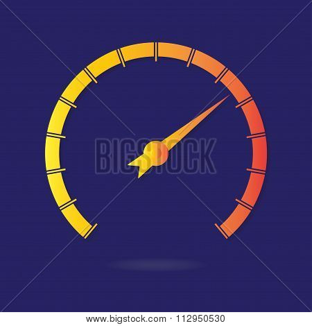 Speedometer or tachometer icon with arrow. Colorful Infographic gauge element. Vector illustration.