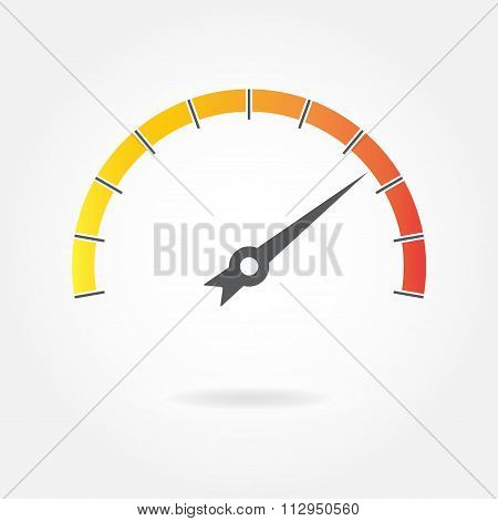 Speedometer icon or sign with arrow isolated on white background. Colorful infographic gauge element