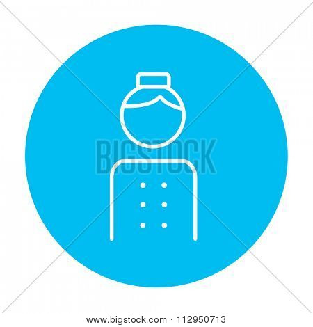 Bellboy line icon for web, mobile and infographics. Vector white icon on the light blue circle isolated on white background.