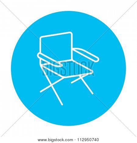 Folding chair line icon for web, mobile and infographics. Vector white icon on the light blue circle isolated on white background.