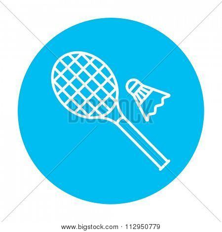 Shuttlecock and badminton racket line icon for web, mobile and infographics. Vector white icon on the light blue circle isolated on white background.